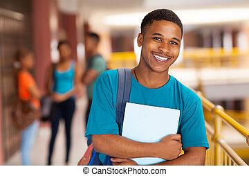 joven, colegio, niño, tenencia, Libros