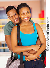 african american university couple - happy african american...