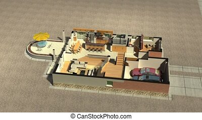 Construction of a two level house in animated building...