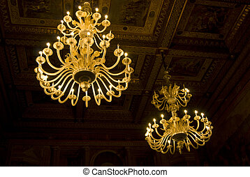 Two chandeliers - two beautiful chandeliers with lots of...