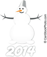 Snow Man - vector illustration Snow Man with carrot and...