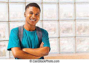 african college student with arms crossed - handsome african...