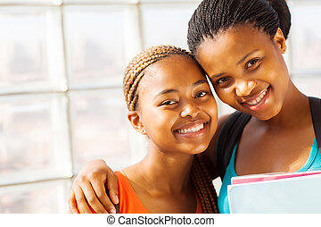 young african college girl friends - beautiful young african...
