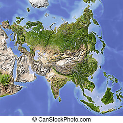Asia, shaded relief map