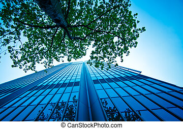 The modern office building.  - The modern office building.