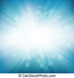 Circle Rays Background - Vector blue background of circles...