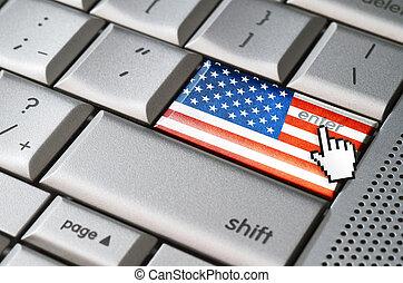Business concept enter USA - Business concept mouse cursor...