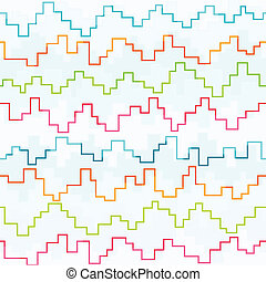 colored pixel zigzag seamless pattern