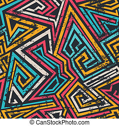 colored spiral lines seamless pattern with grunge effect