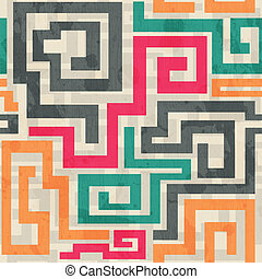colored square spiral pattern with grunge effect