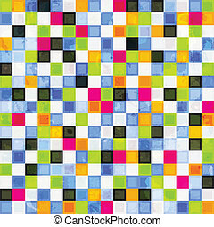colored squares seamless pattern with grunge effect