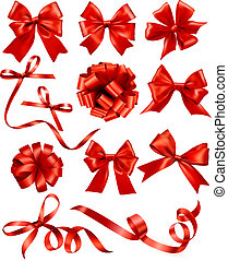 Big set of red gift bows with ribbons. Vector illustration....