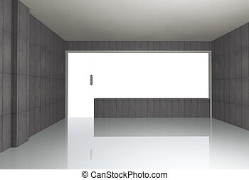 Bare concrete room - Empty bare concrete room , 3D rendering