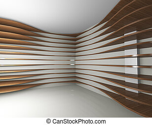 Curve wood shelfs, abstract interior - 3D rendered of...