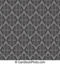 pattern - Black seamless lace pattern on gray background