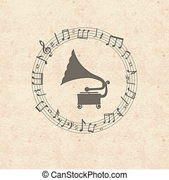 gramophone - Old wintage grunge music paper card with notes...