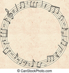 music notes border - Vintage grunge paper background with...