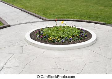 walkway flower bed - landscaping, showing walkway, flower...
