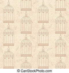 birdcages and feathers - Old vintage grunge paper seamless...