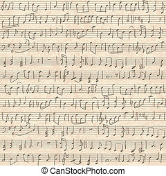 musical notes - Seamless vintage grunge background with...