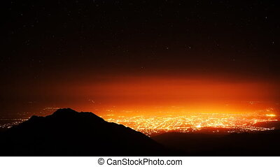 City Light Stars Sunrise Dream - Time Lapse of night city...