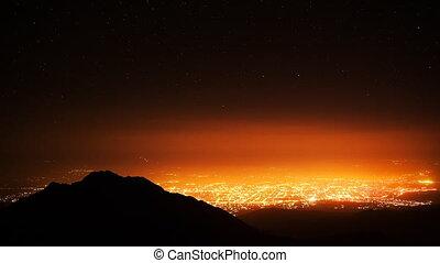 Time Lapse Night City Stars Mountai