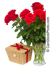 bouquet of scarlet roses in vase with gift basket - bouquet...