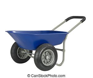 azul, carrinho de mão