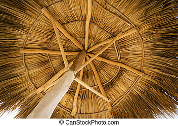 View from under a palapa, on a beach resort