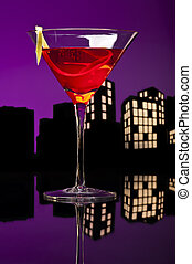 Metropolis Cosmopolitan Cocktail - A cosmopolitan cocktail,...