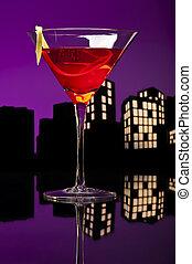 Metropolis Cosmopolitan Cocktail - A cosmopolitan cocktail,...