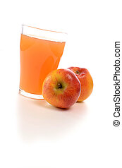 Organic apple juice on a white background