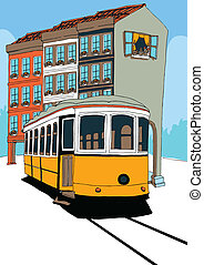 Lisbon Tramway and houses