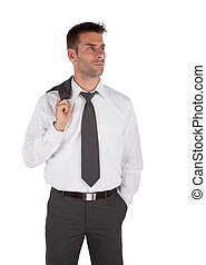 Businessman with jacket over shoulder and one hand in pocket...