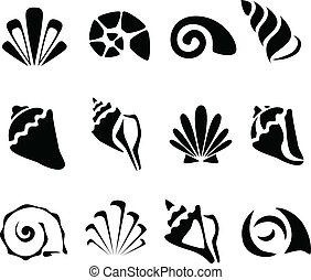 Abstract shell symbol set - Abstract black shell symbol set...