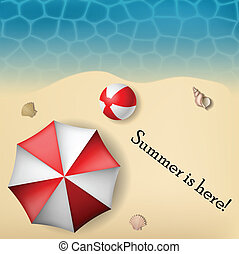 Beach text frame with umbrella and ball on sand eps10