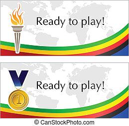 Olímpico, marco, antorcha, medalla