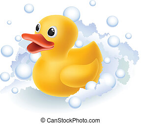Rubber duck in foam and bubbles