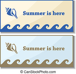 Summer card set with shell symbols