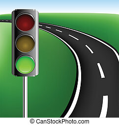 Frame with road and traffic light - Text frame with road and...