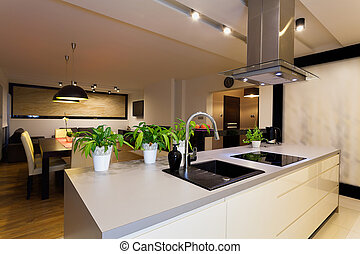 Urban apartment - kitchen counter - Urban apartment - white...