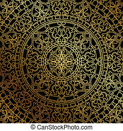 background with gold ornament - Vector black background with...
