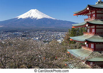 Mt Fuji viewed from Chureito Pagoda
