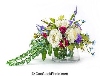 Bouquet og rose and carnation in glass vase - Bouquet og...