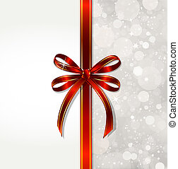 Red bow on a magical Christmas over. Vector - Big red bow on...