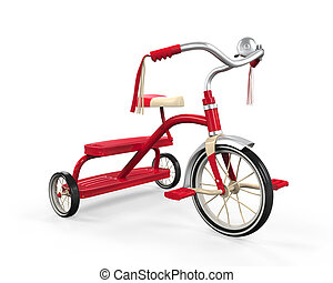 crianças, isolado, triciclo