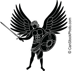 angel stencil first variant vector illustration