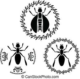 insects stencils vector illustration