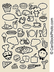 Restaurant Icons doodle - Spontaneous hand drawing of food...