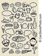 restaurante, iconos, garabato